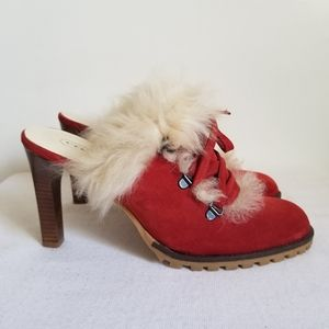 Coach Kristy Mule Clog Red Suede Fur